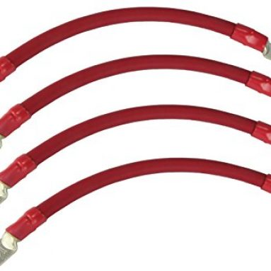 TEMCo 4 LOT 2/0 Gauge 12in – 3/8 in Hole Sizes Red Solar Battery Cables Power AWG Solar Inverter Golf Cart Car GLUE SEALED
