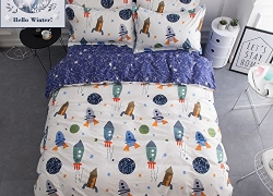 BuLuTu Space Rocket Print Cotton Boys Bedding Duvet Cover Sets Queen White and Blue(1 Duvet Cover and 2 Pillowcases) Planet Spaceship Star Full Girls Bedding Sets For Kids Teen Zipper Closure sale