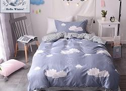 BuLuTu Twin Quilt Bedding Sets Cotton Rain Cloud Print Kids Duvet Cover Sets For Boys Hidden Zipper Closure With 4 Corner Ties sale