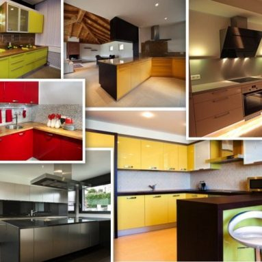 High-gloss color cabinet finishes