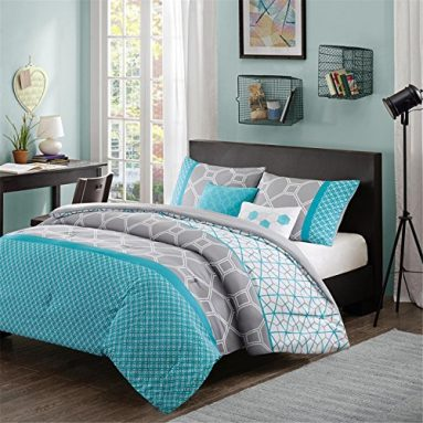 Intelligent Design – Clara -All Seasons Comforter Set -5 Piece – Blue – Geometric Pattern – Full/Queen Size – Includes 1 Comforter, 2 Shams, 2 Decorative Pillows – Ideal For Guest Room sale