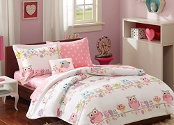 Mi Zone kids – Wise Wendy Complete Bed and Sheet Set – Pink – Twin – Owl & Flower Print – Includes 1 Comforter, 1 Decorative Pillow, 1 Fitted Sheet, 1 Sham , 1 Pillowcase, 1 Flat Sheet sale