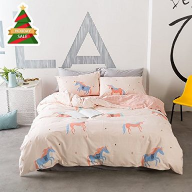 ORoa Soft Cute Cartoon Animal Unicorn Bedding Duvet Cover Queen Full Size Set for Kids Boys Girls Cotton 100 Percent, Children Plaid Grid Bedding Sets, Reversible Lightweight Breathable(Pink, Queen) sale