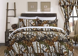 Regal Comfort The Woods White Camouflage Twin 4 Piece Premium Luxury Comforter, Bed Skirt, and 2 Pillow Shams Set – Camo Bedding Set For Hunters Cabin or Rustic Lodge Teens Boys and Girls sale