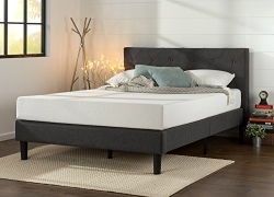 Zinus Upholstered Diamond Stitched Platform Bed with Wooden Slat Support, Full sale