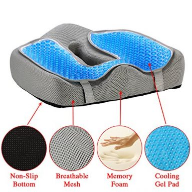 Ziraki Memory Foam Seat/Chair Cushion Orthopedic Coccyx Support Pillow 4 in 1 W/ Cooling Gel- For Back Pain Relief & Sciatica And Tailbone Pain – Protect Your Back – Adjustable To Any Chair or Seat sale