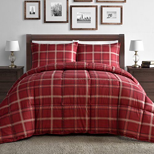Comfy bedding red plaid down alternative 3 piece comforter set red full sale excellent at home for Home design down alternative color king comforter