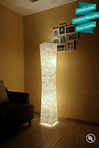 "61"" Creative LED Floor Lamp,LEONC Softlighting Minimalist Modern Design with Fabric Shade & 2 Bulbs Floor Lamps for Living Room Bedroom Warm Atmosphere(Tyvek Dupont 10 x 10 x 61 inch)"