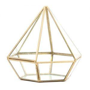 Koyal Wholesale Geometric Terrarium Glass Table Decoration, Planter for Succulents, Cactus, Air Plants, Indoor Plants, Outdoor Plants (Diamond, Gold)