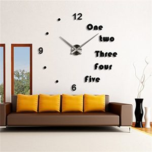 DIY 3D Wall Clock Modern Large Home Decor Sticker Frameless Black Mirror For Office Living Room Bedroom Kitchen Bar English Clock Plate
