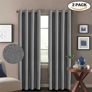 H.Versailtex (2 Panels) Ultra Sleep Textured Faux Linen Grommet Curtains for Living Room,Energy Efficient Window Treatment Panels,52 Width by 96 Length - Inch - Elegant Gray Color