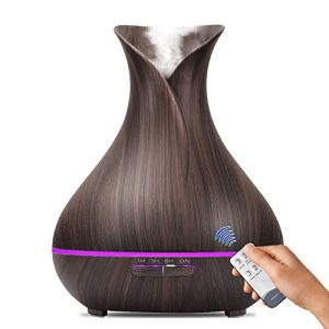 Essential Oil Diffuser, 400mL Remote Control Aroma diffuser Wood Grain Ultrasonic Cool Mist Humidifier with Waterless Auto Shut-off, 7 color LED Lights for Bedroom Living Room Spa Baby