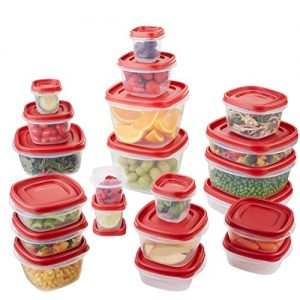 Rubbermaid Easy Find Lid 42-Piece Food Storage Container Set, Red