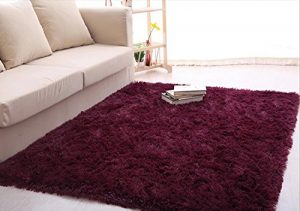 Ultra Soft 4.5 Cm Thick Indoor Morden Area Rugs Pads, New Arrival Fashion Color [Bedroom] [Livingroom] [Sitting-room] [Rugs] [Blanket] [Footcloth] for Home Decorate. Size: 4 Feet X 5 Feet (Claret red)