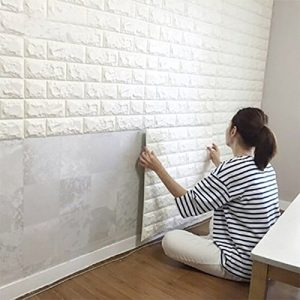10PCS 3D Brick Wall Stickers, PE Foam Self-adhesive Wallpaper Removable and Waterproof Art Wall Tiles for Bedroom Living Room Background TV Decor
