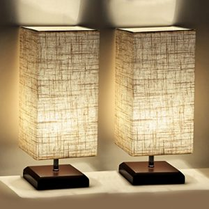 Cavogin 2 PCS Minimalist Romantic Solid Wood Table Lamp With Flaxen Fabric Shade Bedside Desk Lamp For Bedroom, Dresser, Living Room, Baby Room, College Dorm, Coffee Table, Bookcase