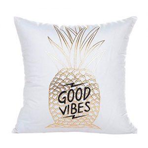 Clearance! Wearefin Gold Foil Printing Pillow Case Sofa Waist Throw Cushion Cover Home Decor (White H)