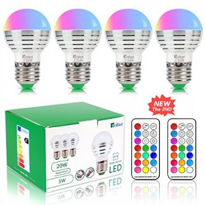 NetBoat LED Color Changing Light Bulb Dimmable 3W,E26/E27 RGB LED Light Bulbs Mood Ambiance LED Bulb with IR Remote Control for Living Room Dinning Room Decoration Bar Party KTV Mood Lighting,4 Pack