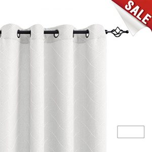 """jinchan Geometry White Curtains for Living Room Curtain Panels Contemporary Lattice Jacquard Window Treatment Set for Bedroom 1 Pair 63"""" L"""