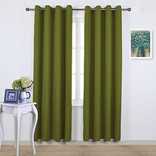 NICETOWN Blackout Curtains for Living Room - Functional Blackout Curtains/Panels for Bedroom, Thermal Insulated, Privacy Assured (Set of 2, 52 x 95 Inch in Olive Green)
