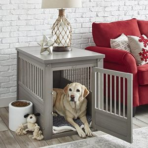Contemporary Wood End Table Pet Crate and Kennel with Stainless Steel Spindles - Includes Modhaus Living Pen (Large, Gray)