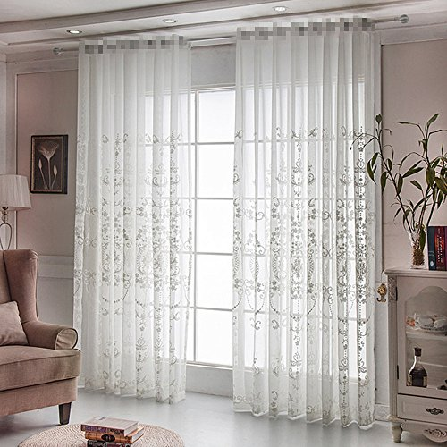AliFish 1 Panel Rod Pocket Window Embroidery Voile Embroidered Sheer Curtain Panel for Living Room Sliding Glass Door White 39 inch wide by 84 inch long