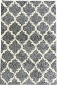 Ottomanson Ultimate Shaggy Collection Moroccan Trellis Design Shag Rug Contemporary Bedroom and Living room Soft Shag Rugs, Grey, 3'3 L X 4'7 W