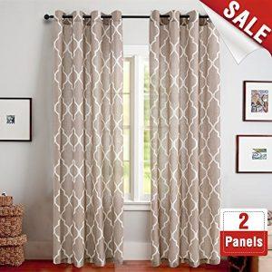 jinchan Print Curtains 95 inch Moroccan Tile Flax Linen Look Curtain Quatrefoil Grommet Lattice Window Treatment Set for Living Room - (Taupe, Set of 2 Panels)