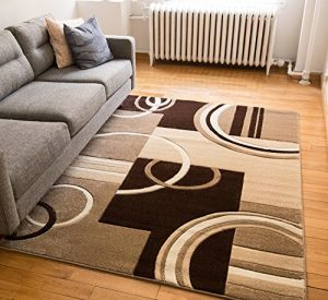 """Echo Shapes & Circles Ivory / Beige Brown Modern Geometric Comfy Casual Hand Carved Area Rug 5x7 ( 5'3"""" x 7'3"""" ) Easy Clean Stain Fade Resistant Abstract Contemporary Thick Soft Plush Living Room"""