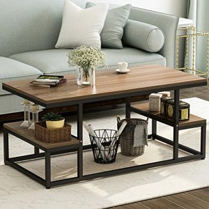 """Tribesigns Modern Coffee Table, 48"""" Cocktail Table with Open Storage Shelf for Living Room, Black Metal Frame, OAK"""