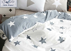 BuLuTu Kids Bedroom Five-pointed Stars US Twin Reversible Bedding Cover With 2 Pillowcases Cotton Comforter Sets Grey/White For Boys And Girls (No Comforter) sale