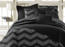 Comfy Bedding Spot Chevron Microfiber 5-Piece Comforter Set (Queen 5-piece, Black) sale