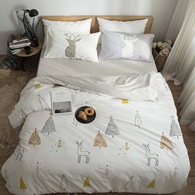 FenDie Bedding Collections Twin Cotton Deer & Tree Print Child Duvet Cover Set White 3 Pieces Home Textile for Bedroom sale