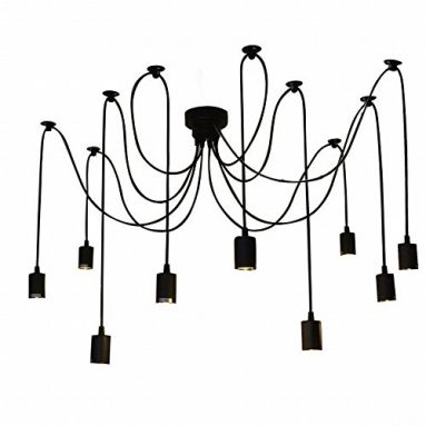 Lixada 9 Arms E27 DIY Ceiling Spider Pendant Lamp Shade Light Antique Classic Adjustable Retro Chandelier Dining Hall Bedroom Home Lighting Fixture sale