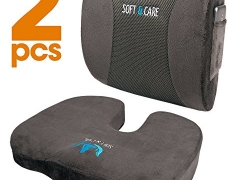 Soft&Care Seat Cushion Coccyx Orthopedic Memory Foam and Lumbar Support Pillow, Set of 2, Dark Gray sale