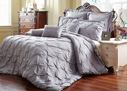 Unique Home 8 Piece Reversible Pinch Pleat Comforter Set Fade Resistant, Wrinkle Free, No Ironing Necessary, Super Soft, Queen, Grey sale